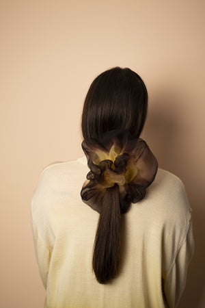 Oversized Scrunchie - Hand Dyed Gold Brown
