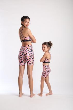 Bike Shorts (Kids) - Pink Leopard