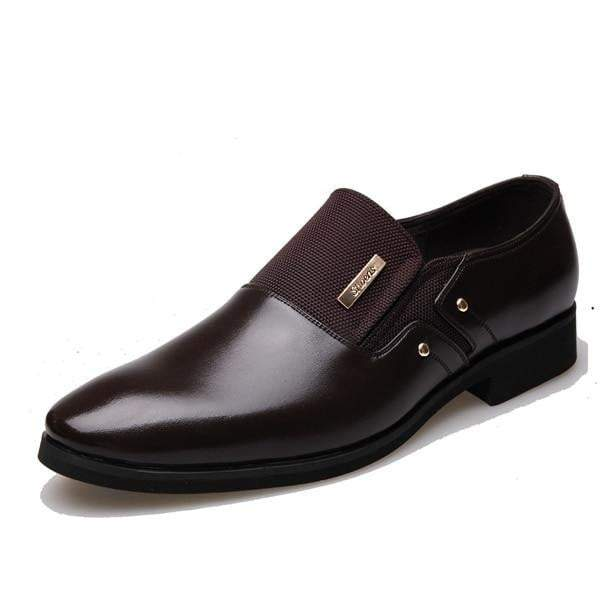 Mens Jet Black Oxford Slip Ons - High Quality Leather Shoes