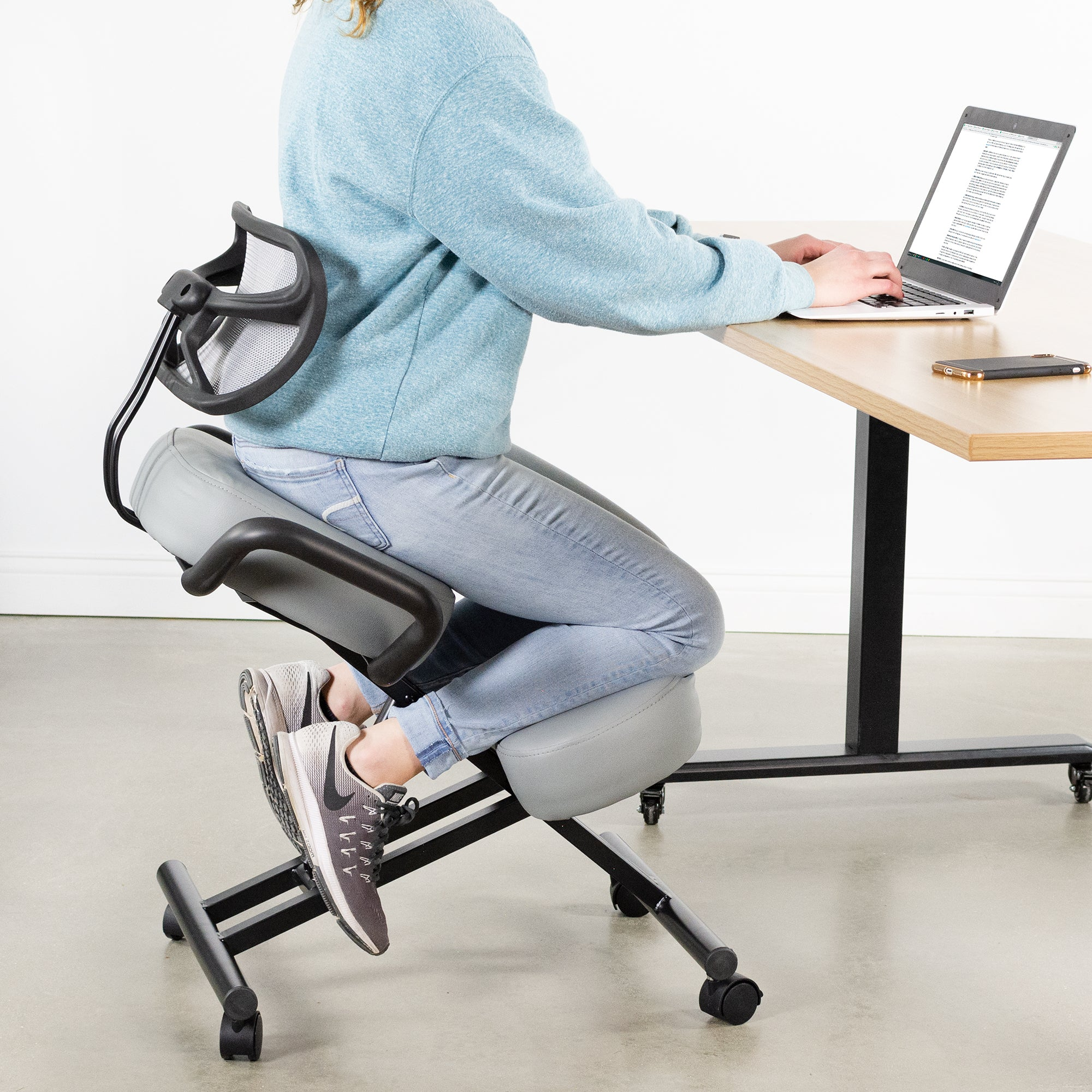 Gray Adjustable Ergonomic Kneeling Chair with Back Support