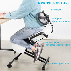 White Adjustable Ergonomic Kneeling Chair with Back Support