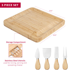Natural Bamboo Cheese Board with Spreading Utensils