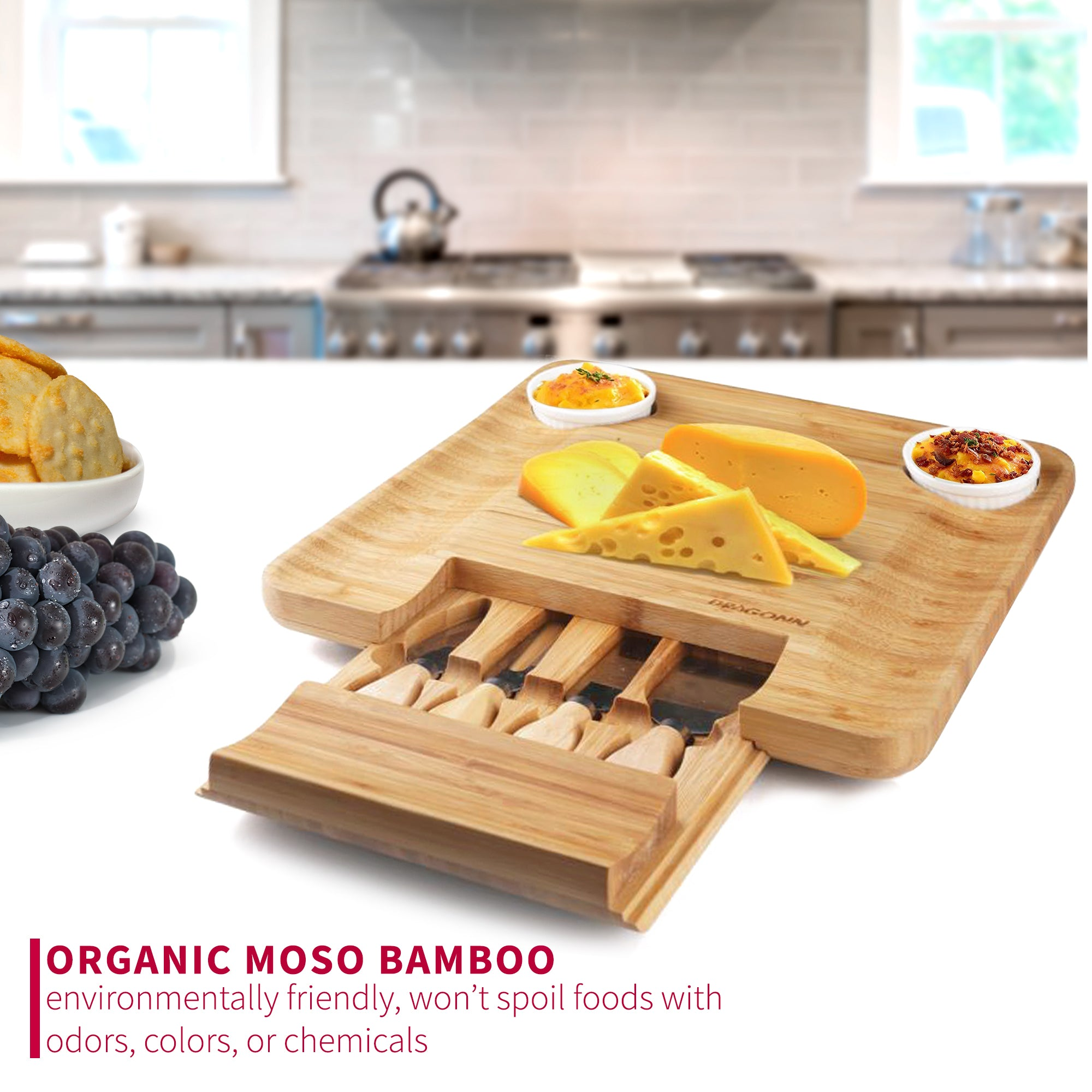 Natural Bamboo Cheese Board with Spreading Utensils and Ramekin Set