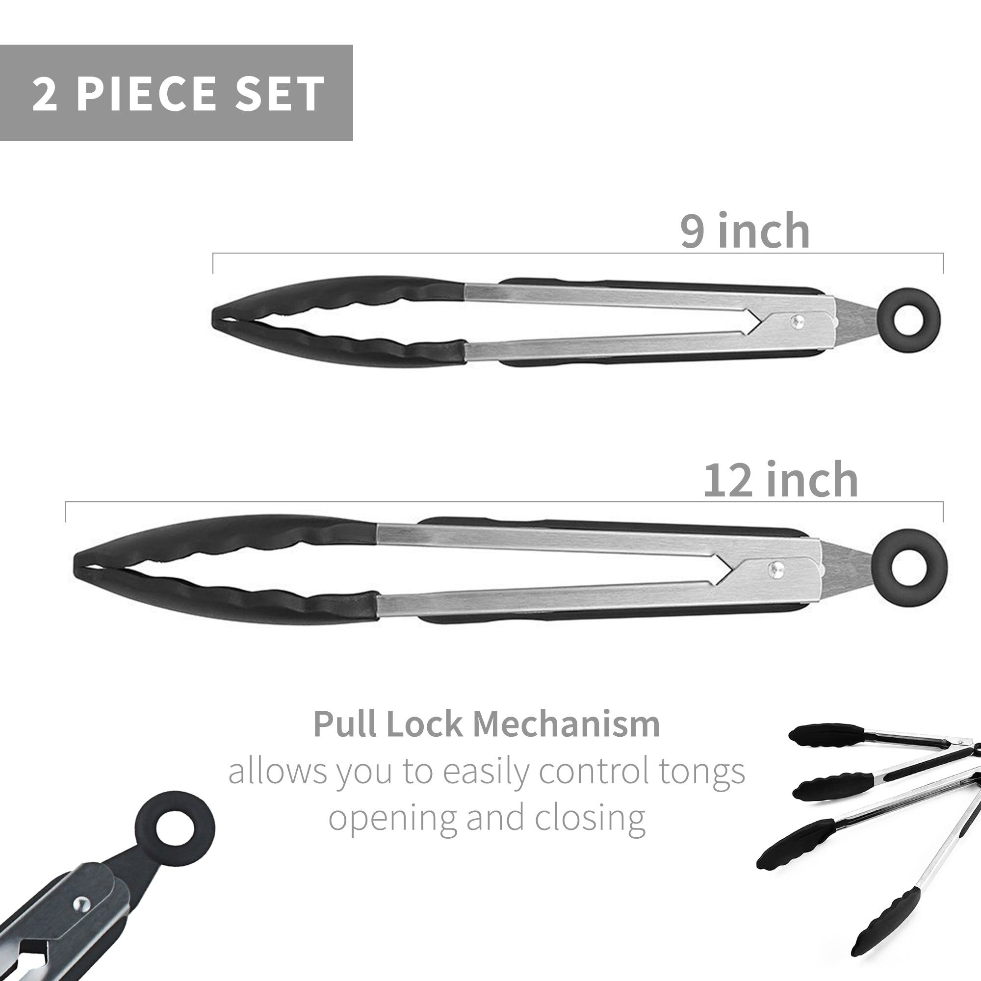 Black Premium Stainless Steel Kitchen Tong Set