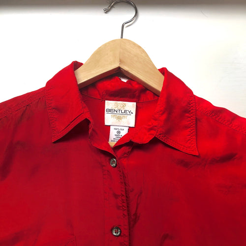 Vintage Red Short Sleeve Silk Shirt
