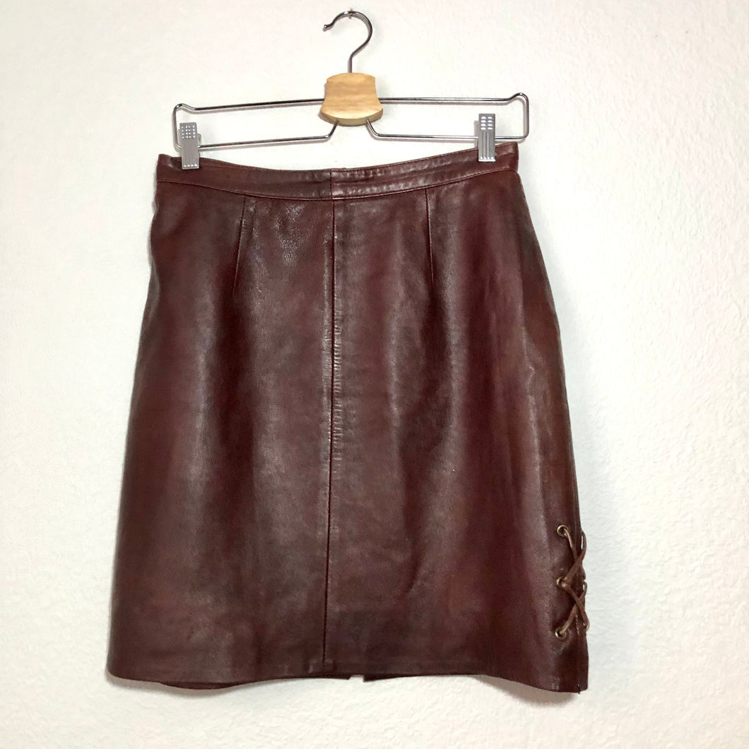 Dark Red Leather Skirt