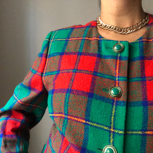 Vintage Betty Barclay Plaid Blazer