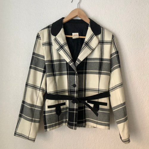Vintage Plaid Wool Blazer