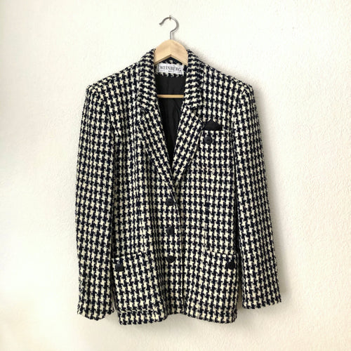 Vintage Houndstooth Wool Boucle Jacket