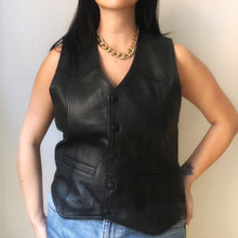 Load image into Gallery viewer, Vintage Black Leather Vest