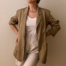 Load image into Gallery viewer, Vintage Golden Beige Silk Blazer