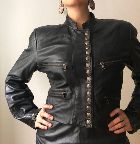 Cinched Waist Leather Jacket