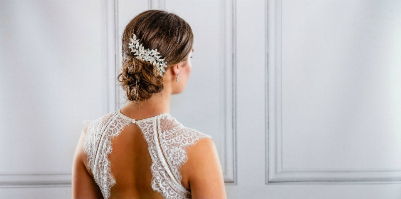 Easy Wedding Hairstyle with Rose gold or Silver Haircomb