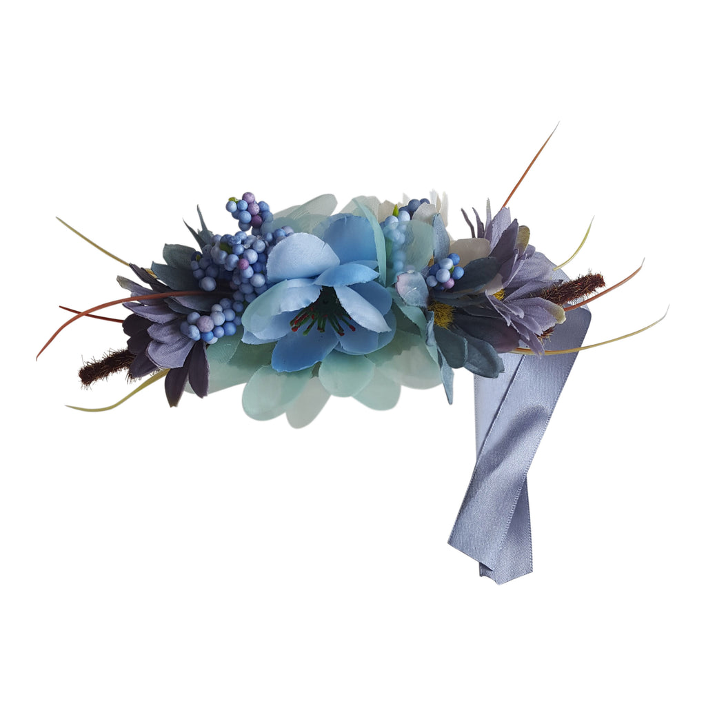 hair fascinator floral clip wedding hair accessories guest blue