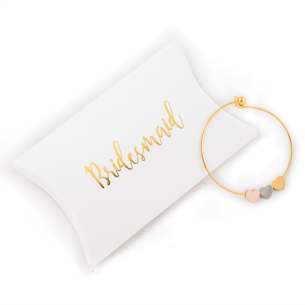 bridesmaid gift gold bracelet bangle wedding favour present maid of honour