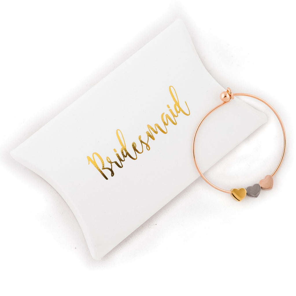 rose gold bangle bridesmaids present wedding gift