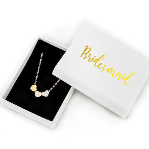 bridesmaid gift rose gold necklace thank you present wedding favours jewellery