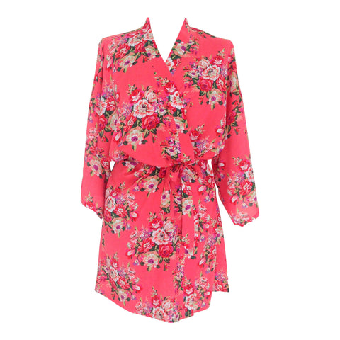 Peach Coral Floral Cotton Dressing Gown