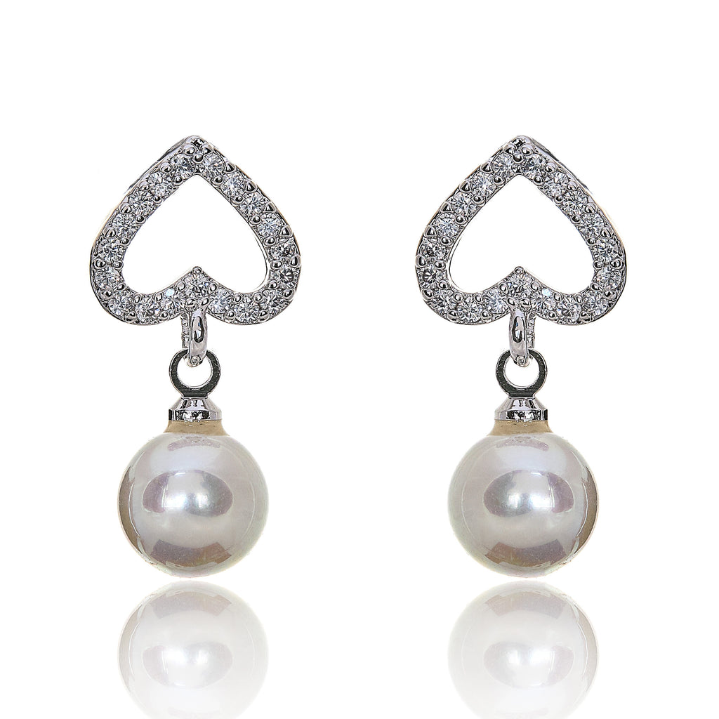 heart drop earrings, pearl and heart earrings, bridal earrings, wedding earrings