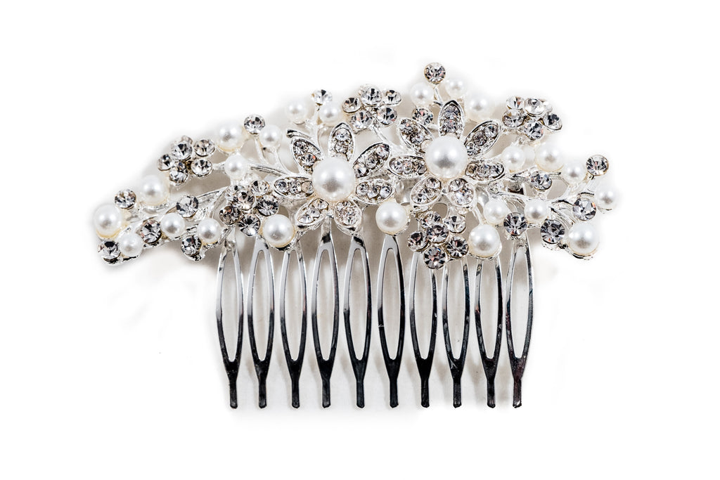 Elegant Pearl Silver Bridal Hair Slide Clip Betty