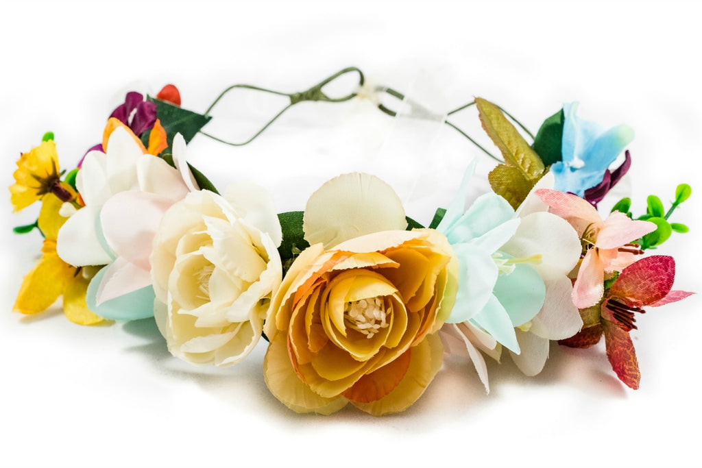 blue flower crown wedding festival prom