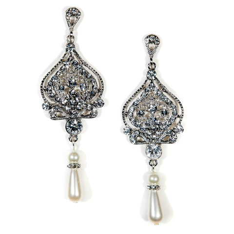 Pearl Drop Bridal Earrings Vintage Candice