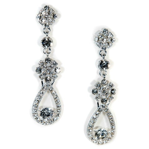 Bridal Earrings Teardrop Crystal Vintage Caprice