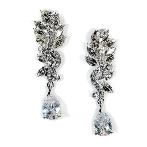 Crystal Drop Bridal Earrings Vintage Art Deco Carina