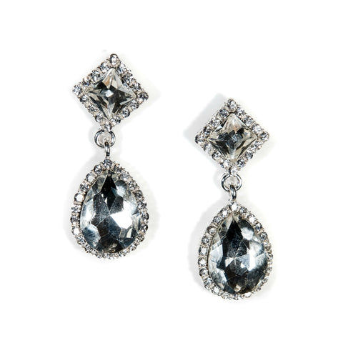 large diamante bridal earrings silver wedding earrings
