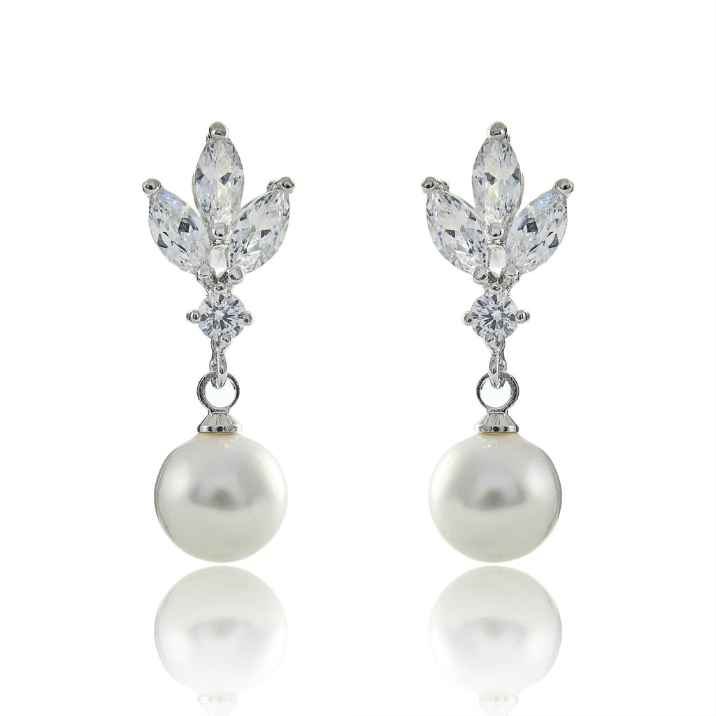 pearl earrings wedding bridal diamond stud