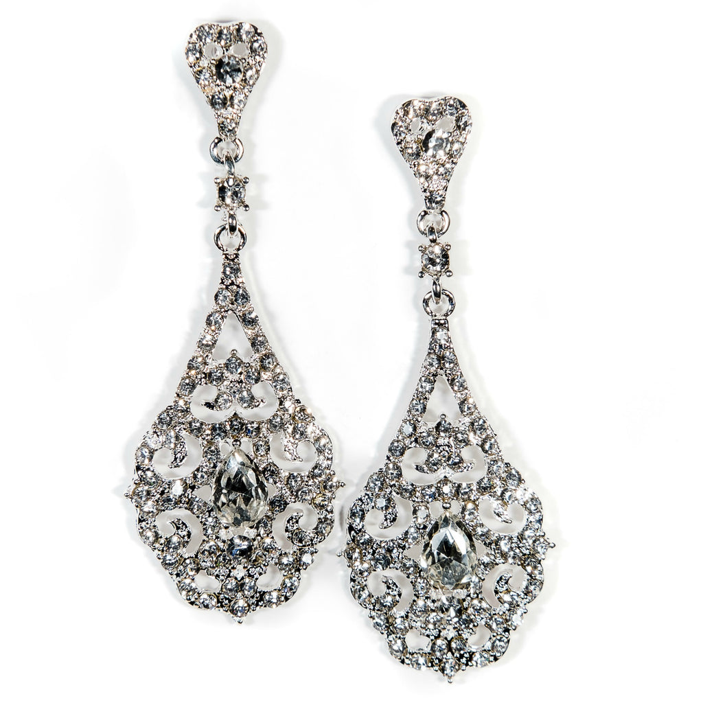Crystal Drop Wedding Earrings Silver Catriona