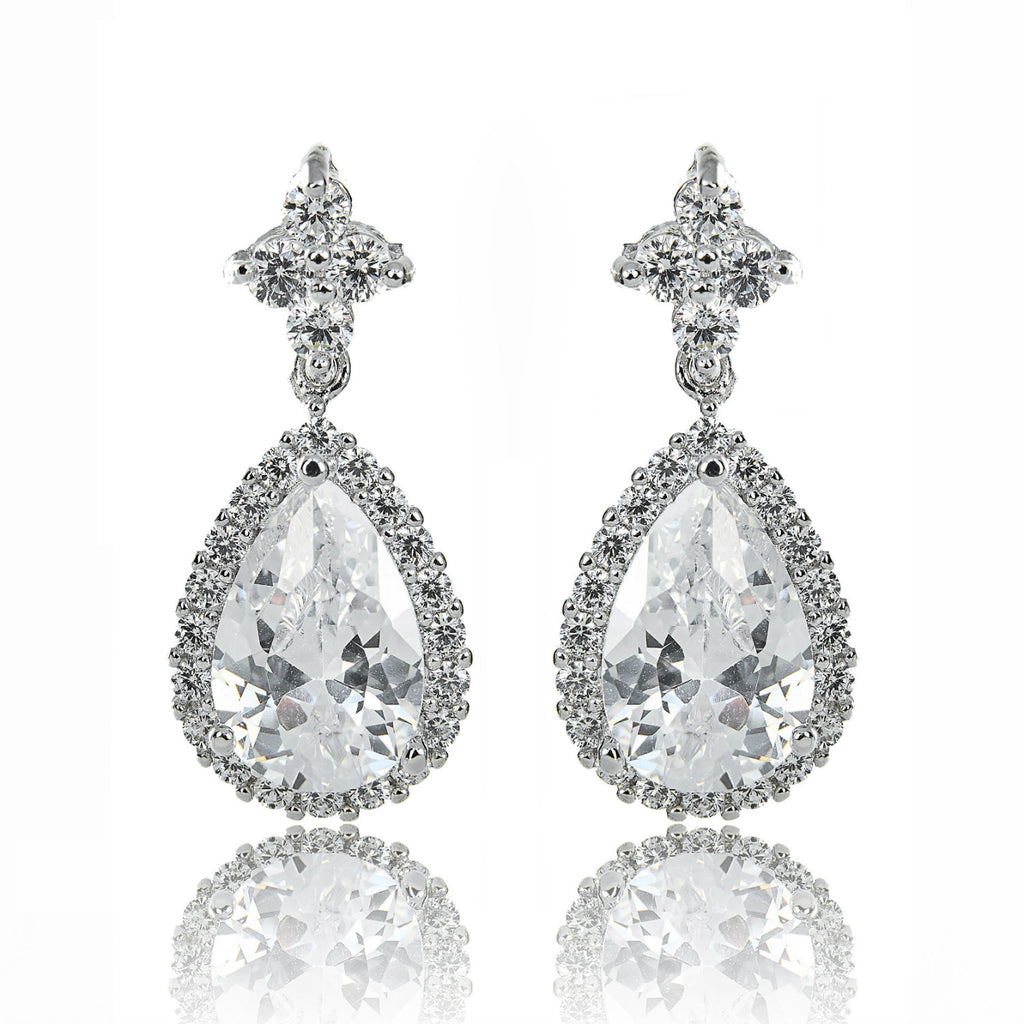 earrings bridal silver drop sparkle diamante