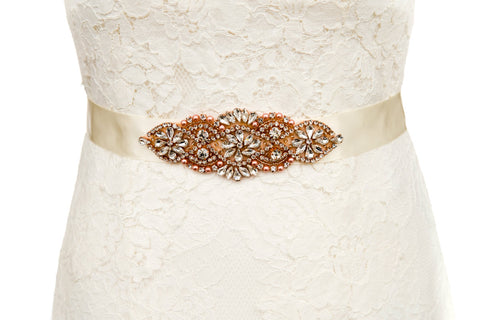 rose gold bridal belt wedding dress