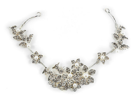 Statement Bridal Hair Wire Silver Crystal Diamante Evie *NOW 30% OFF*