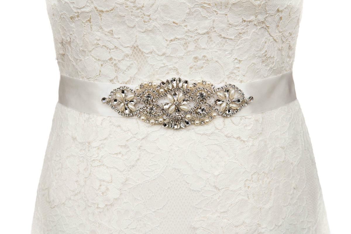 Fleur Wedding Dress Belt Sash Ivory Pearl Crystal – The Bridal Outlet