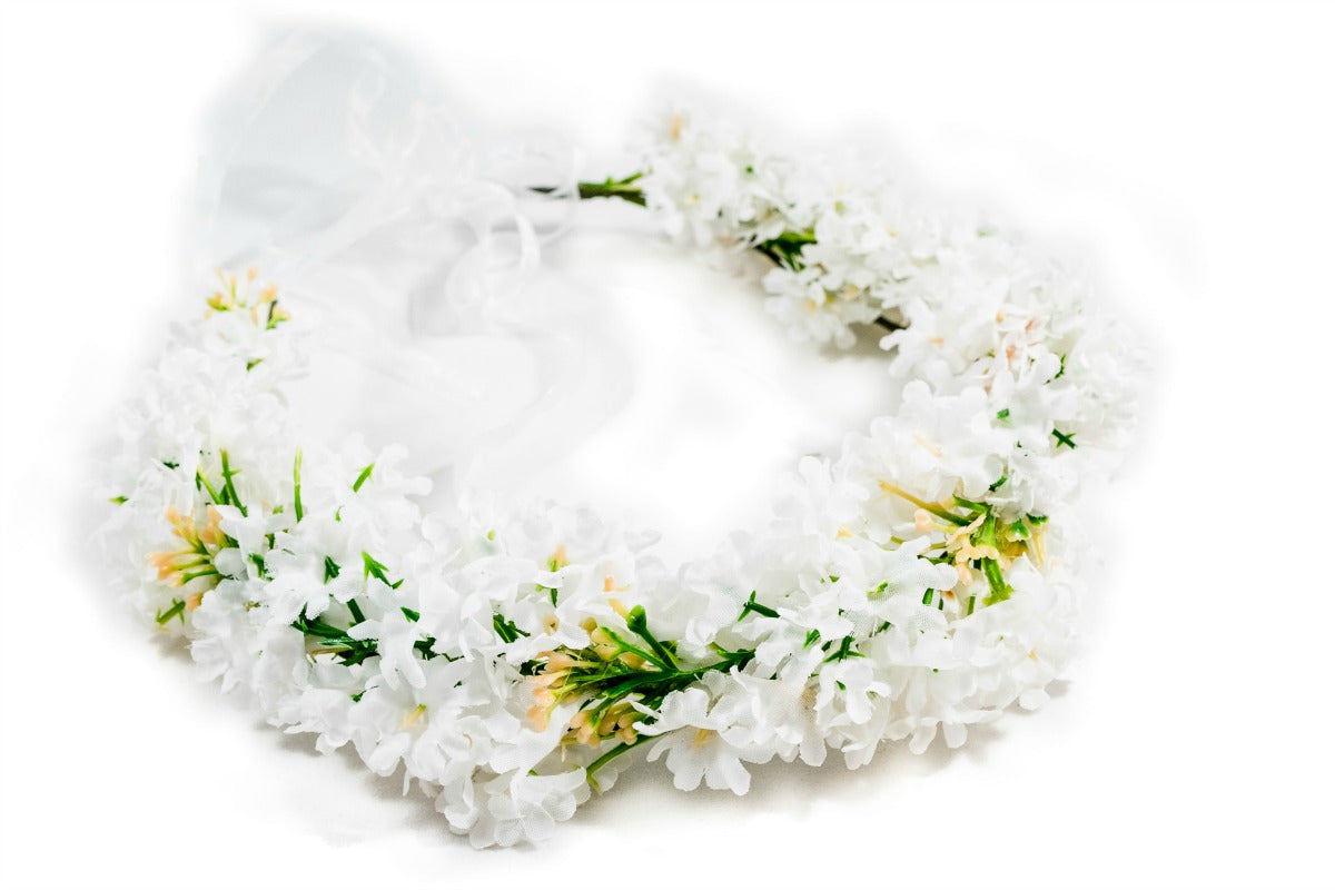 White Flower Crown Gypsophilia Small Hair Flowers Bridal – The ...