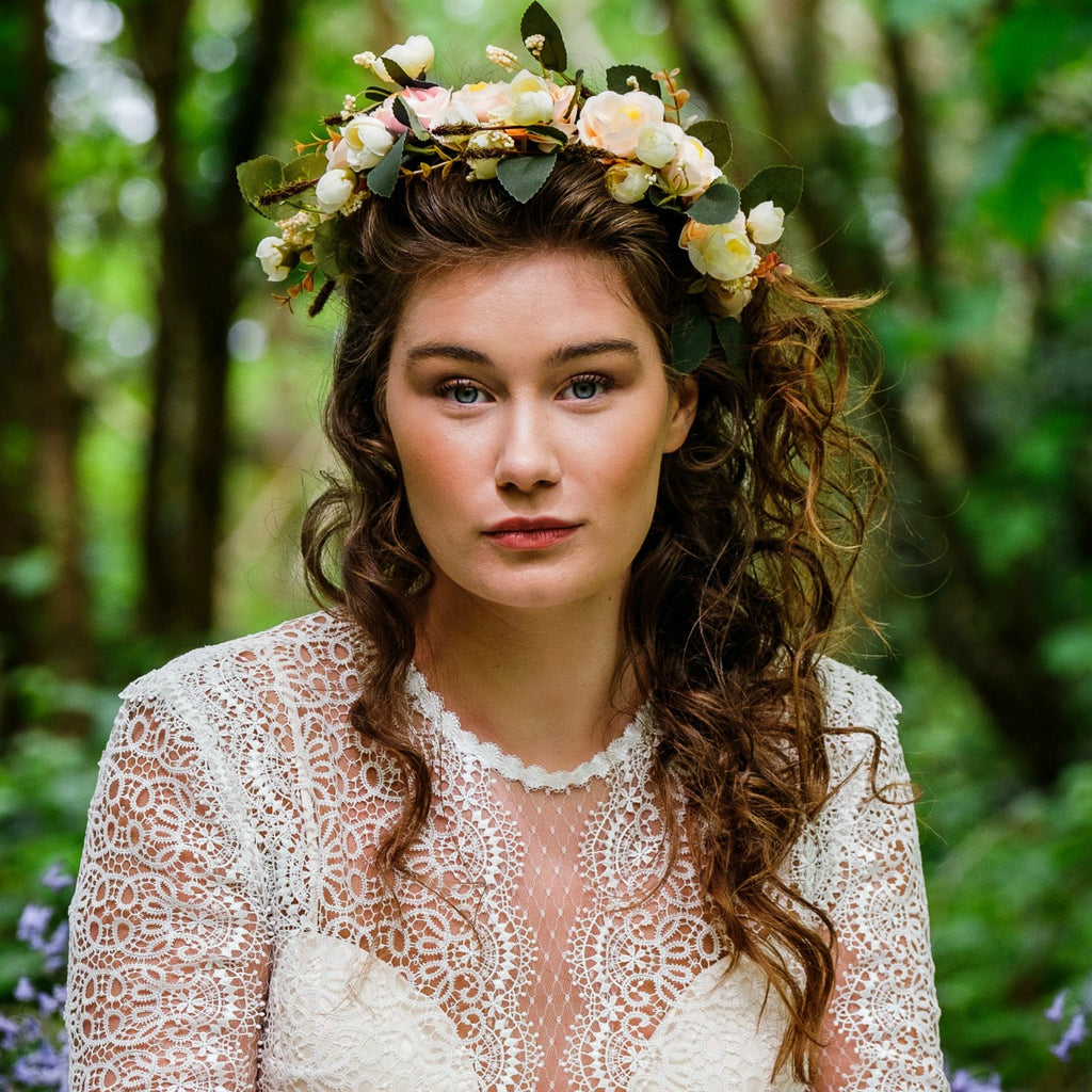 Flower Crown Wedding.Ivory Cream Flower Crown Bridal Floral Fae Now 20 Off The Bridal Outlet