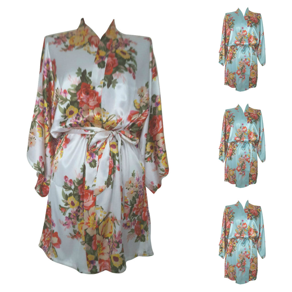 Multi Pack Bridesmaid Bride Robes Dressing Gowns Floral Satin Blue