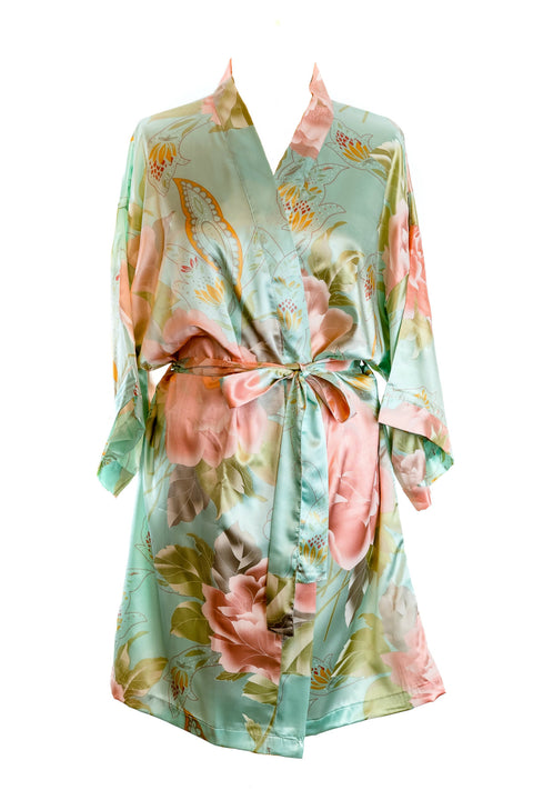 blue floral satin dressing gown robe bridal bridesmaids wedding morning