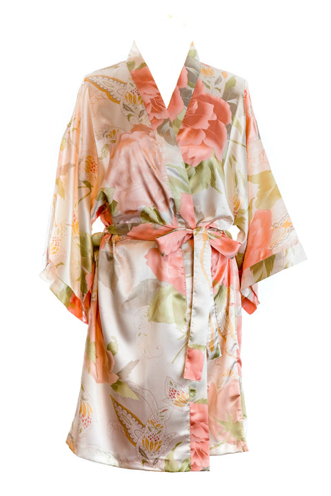 ivory,floral satin,vintage,dressing gown,bride robe,bridesmaid