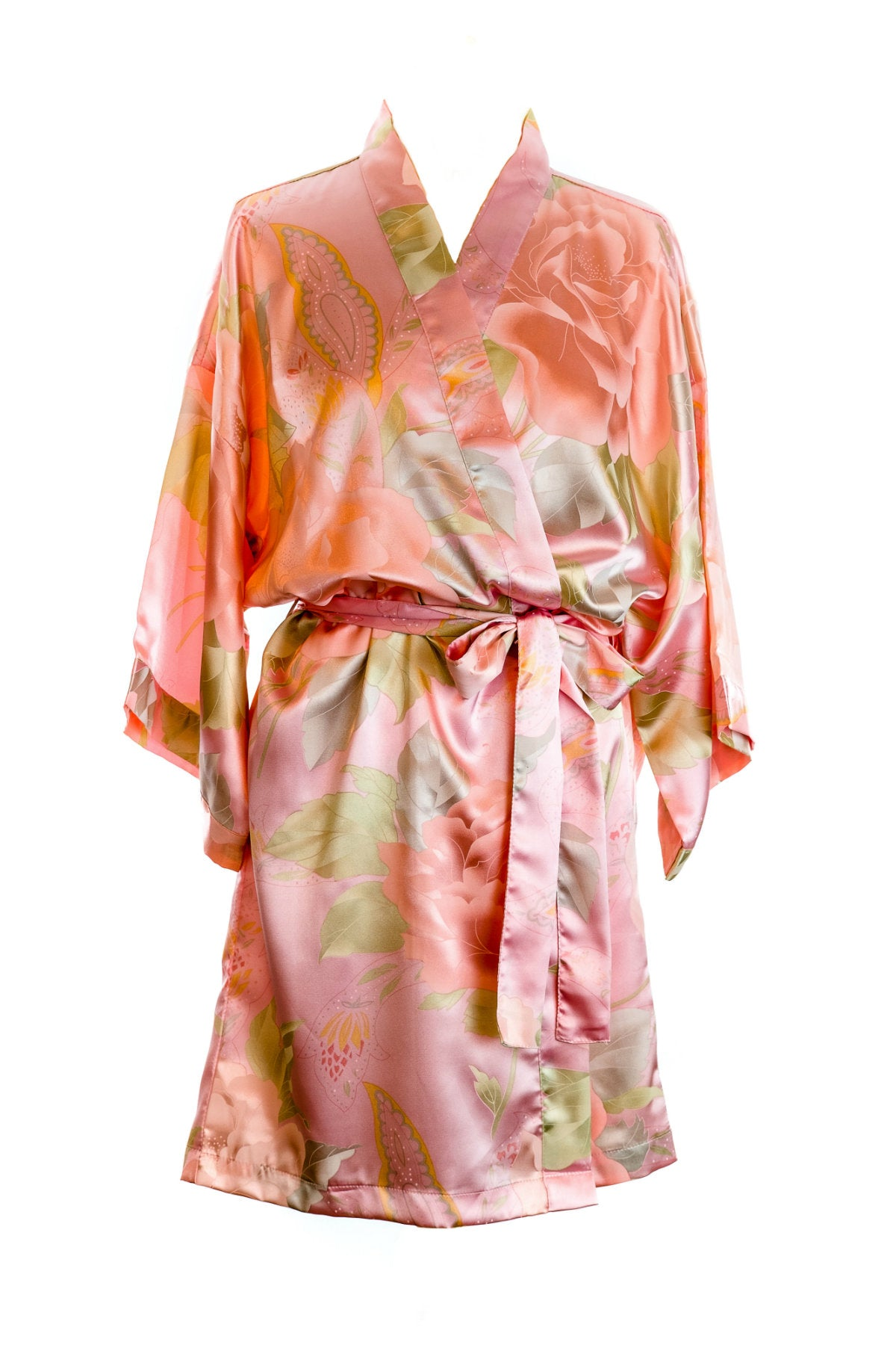 Pink Vintage Floral Satin Dressing Gown – The Bridal Outlet