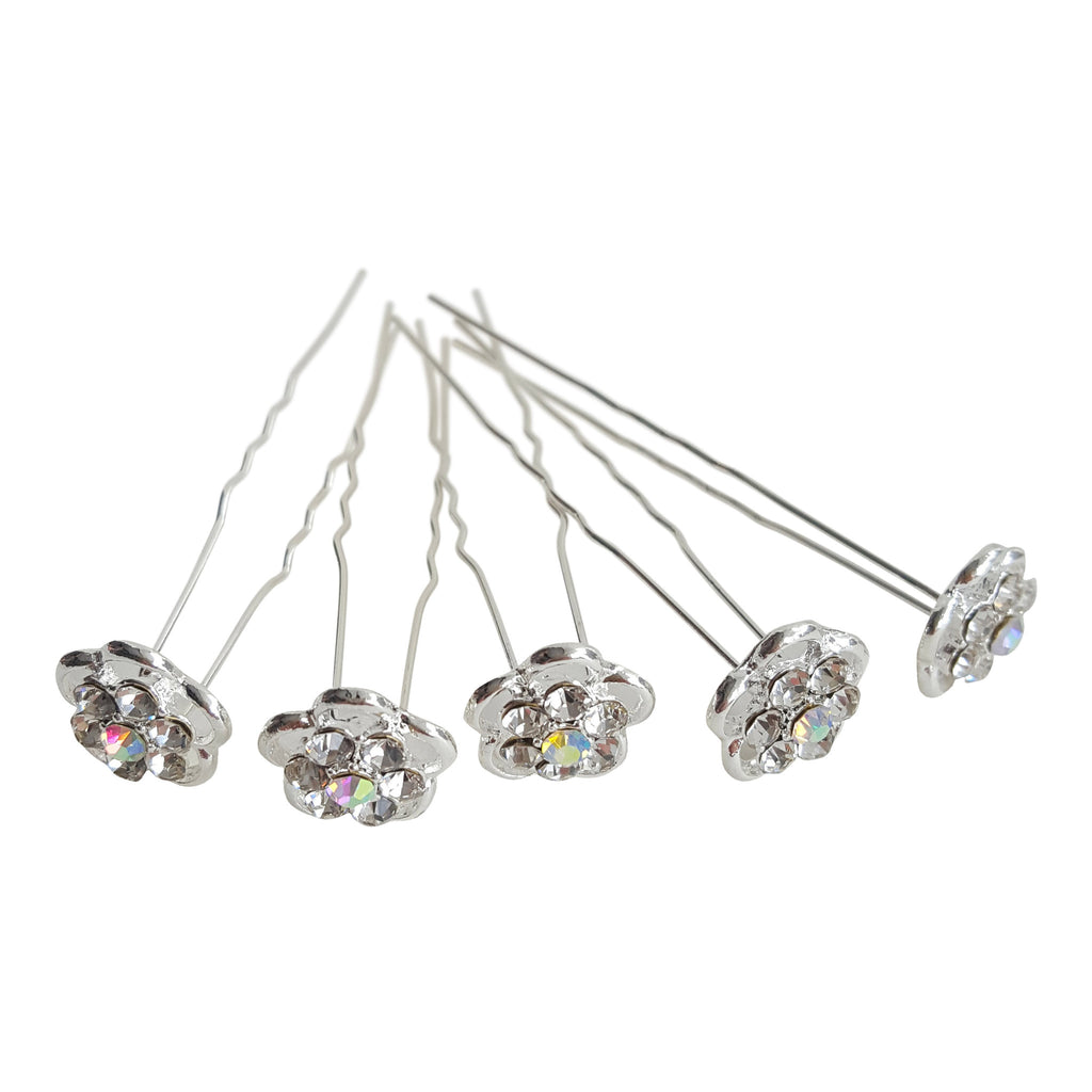 bridal hair pins silver crystal