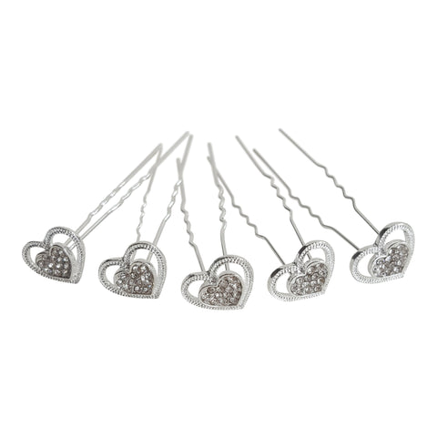 heart shape bridal hair pins
