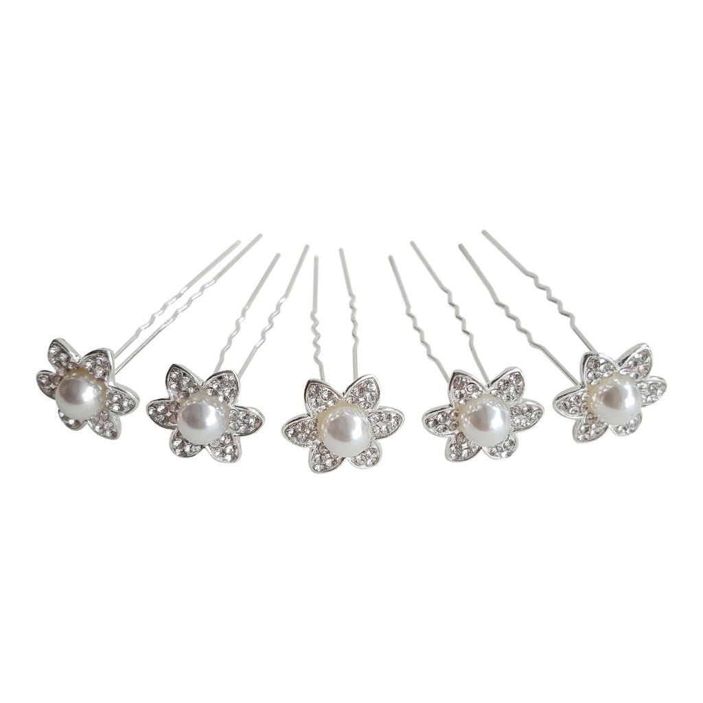 pearl flower bridal hair pins