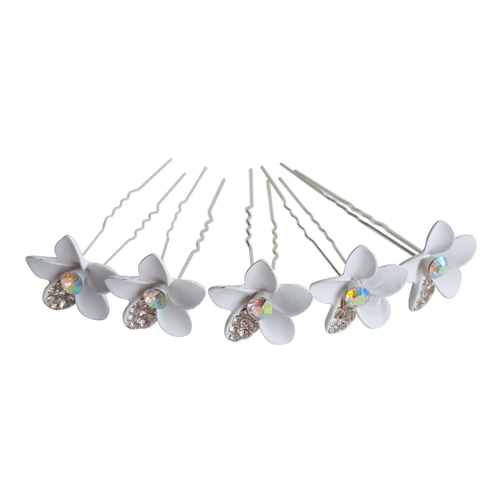crystal floral bridal hairpins silver