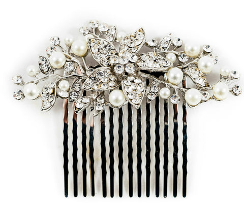 silver bridal comb, wedding hair accessories bridesmaids,