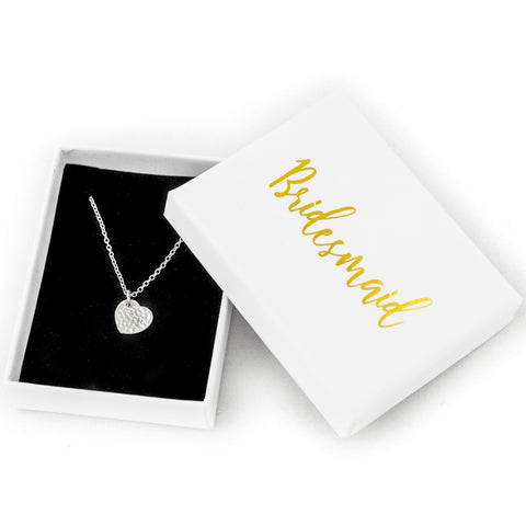 Bridesmaid Gift Silver Heart Necklace with Box
