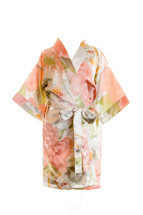 childrens kids ivory satin robes dressing gowns flower girls