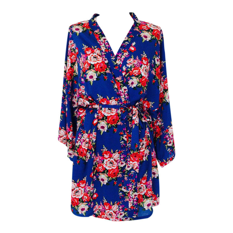 Bridesmaid dressing gown blue floral – The Bridal Outlet