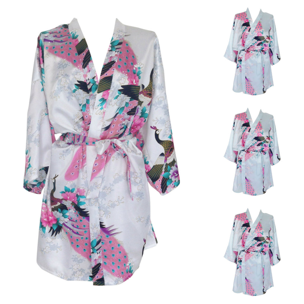 Multi Pack Bridesmaid Bride Robes Dressing Gowns Peacock Print Blue